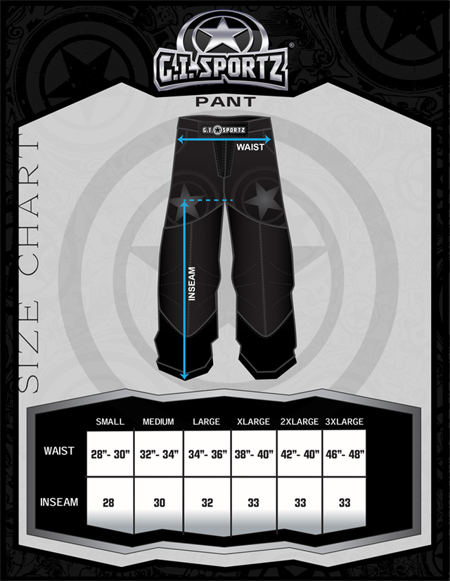 Größentabelle für G.I. Sportz Glide Ultralite Performance Pants Paintball Hose